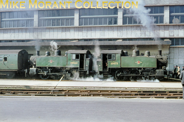 RCTS: The Solent Rail Tour 20/3/66. Back-to-back green liveried USA 0-6-0T's nos. 30064 and 30073 at Southampton (Ocean Terminal). [Mike Morant collection]